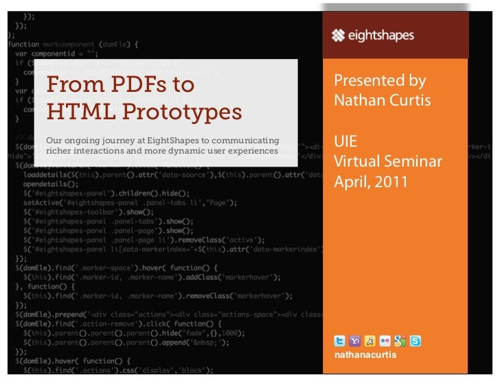 UIE Virtual Seminar - From PDFs to HTML Prototyping