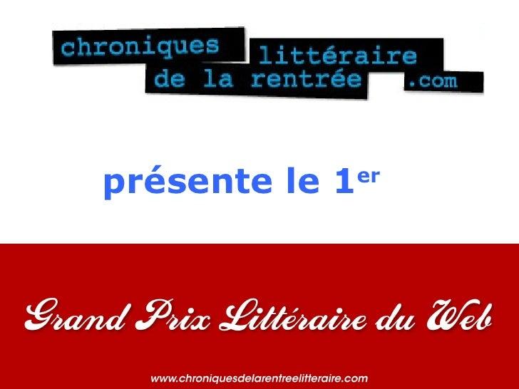 Les gagnants du 1er Grand Prix littéraire du web