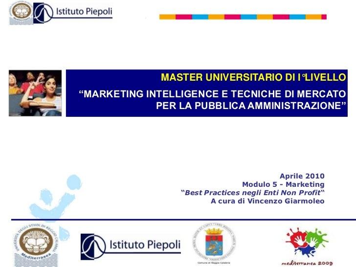 Master  Marketing Enti Non Profit Piepoli 7/8/9 Aprile 2010