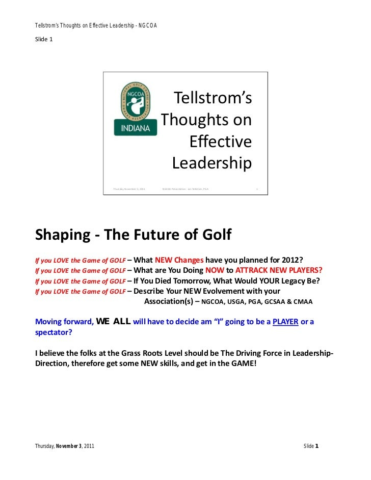 Tellstrom's Thoughts on Effective Leadership - NGCOASlide 1                                                               ...