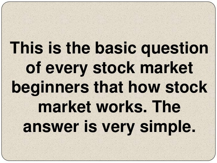 Stock market basic question?