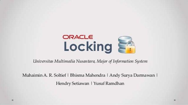 Oracle Administrator - Locking presentation