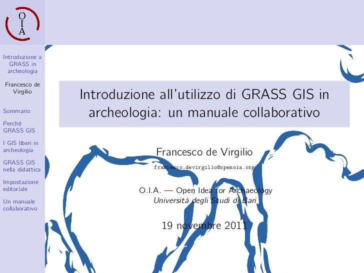 Introduzione all'utilizzo di GRASS GIS in archeologia: un manuale collaborativo