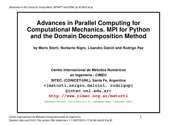 Advances in Par Comp for Comp Mech. MPI4PY and DDM, by M.Storti et.al.                         Advances in Parallel Comput...