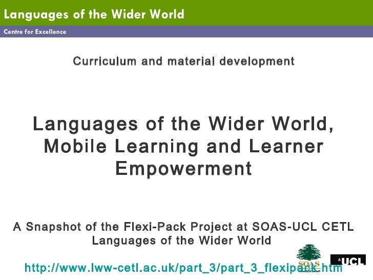 Centre for Excellence Languages   of the Wider World Curriculum and material development Languages of the Wider World, Mob...