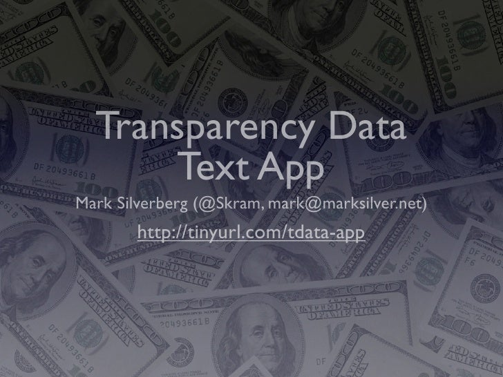 Transparency Data Tropo Application Slides