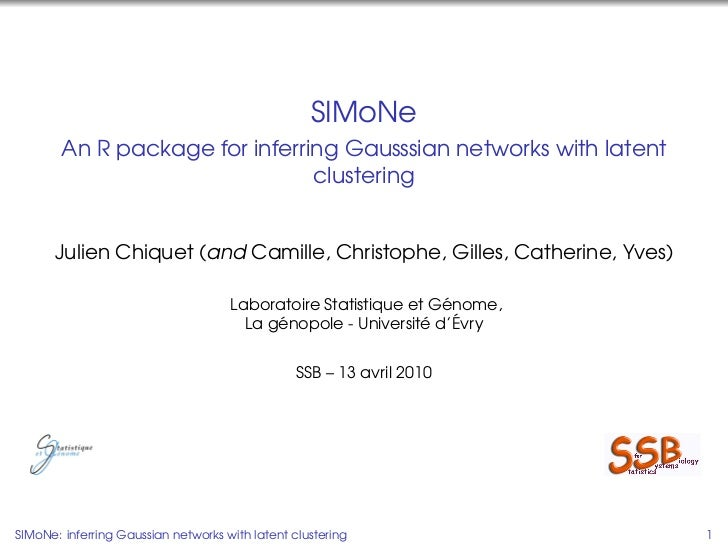 SIMoNe         An R package for inferring Gausssian networks with latent                                 clustering       ...