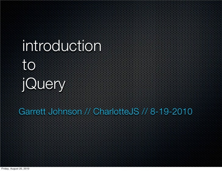 Introduction to jQuery :: CharlotteJS