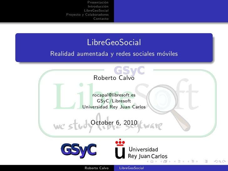 LibreGeoSocial at SIMO network 2010