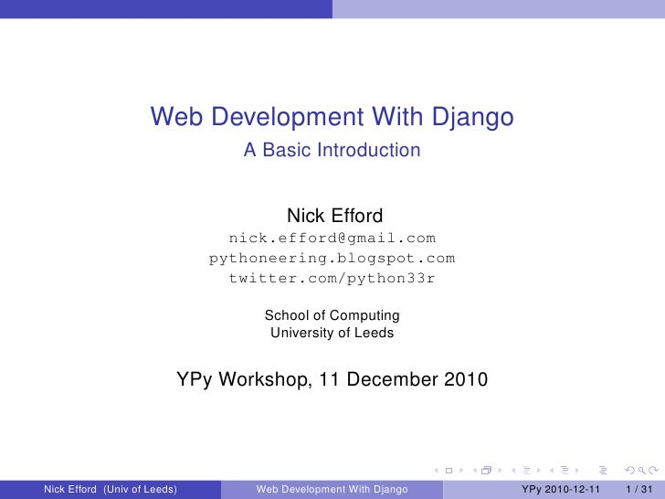 Web Development With Django                                 A Basic Introduction                                       Nic...