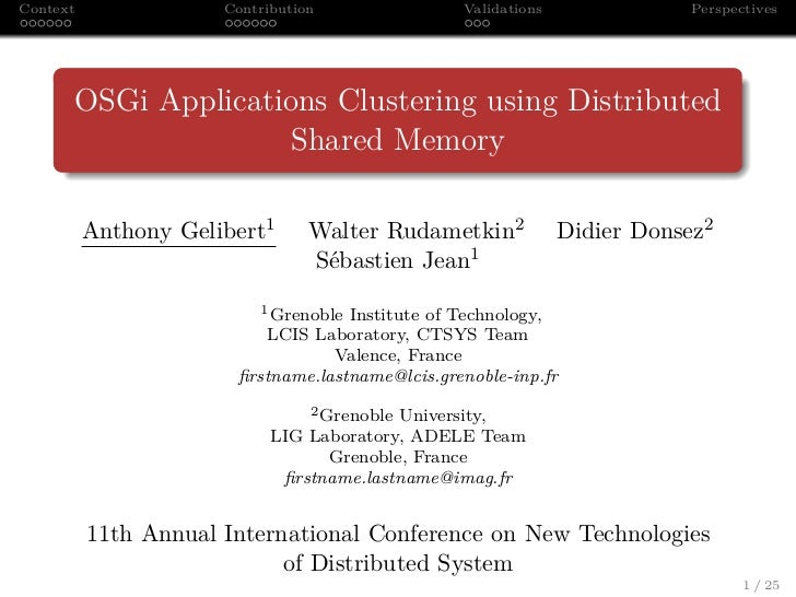 Context               Contribution               Validations              Perspectives      OSGi Applications Clustering u...