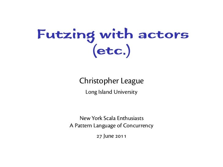 Futzing with actors (etc.)