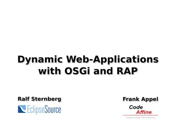 Dynamic Web Applications with OSGi and RAP