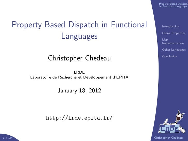Property Based Dispatch                                                                 in Functional Languages     Proper...