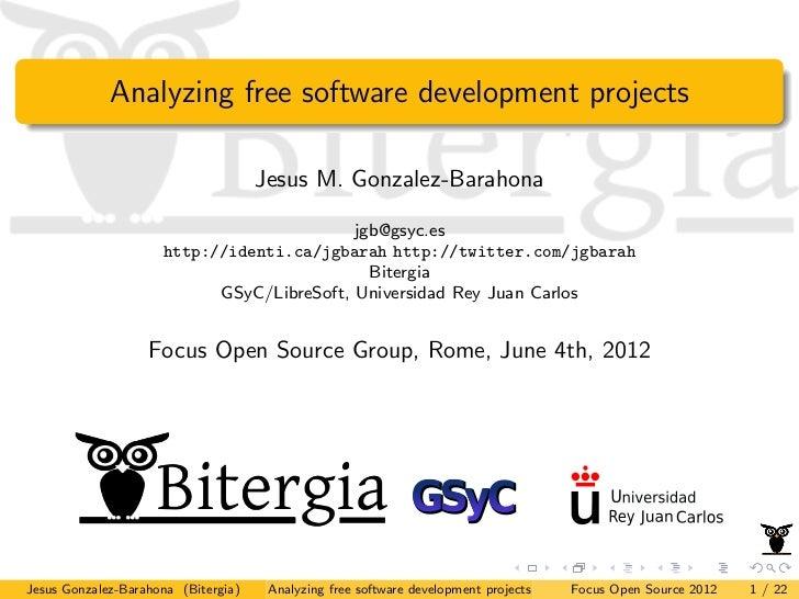 Focus Group Open Source 04.06.2012 Jesus Gonzalez Barahona