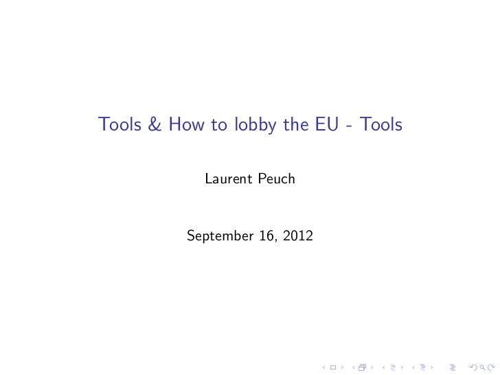 Tools & How to lobby the EU - Tools
