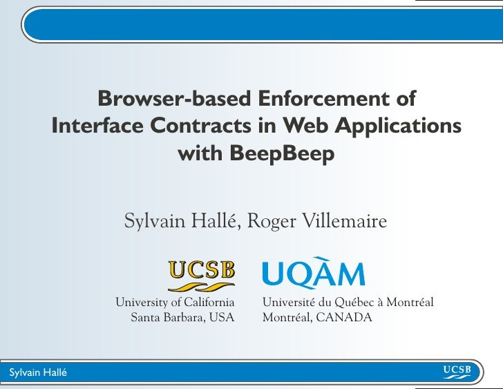 Browser-based Enforcement of          Interface Contracts in Web Applications                      with BeepBeep          ...