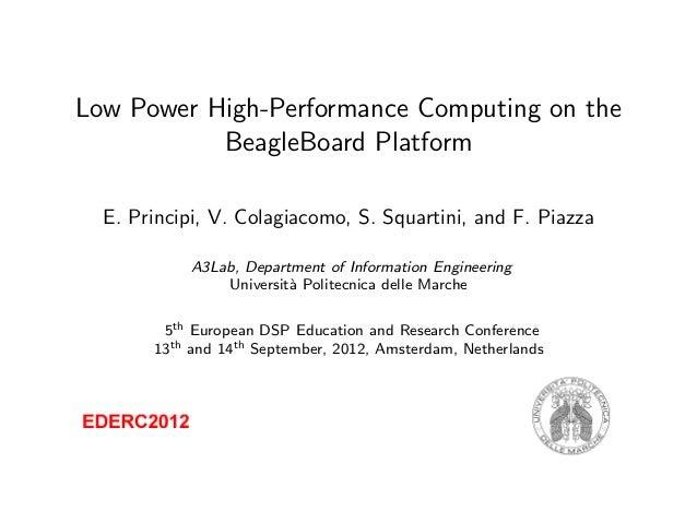 Low Power High-Performance Computing on the BeagleBoard Platform