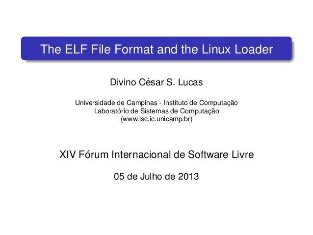 The ELF File Format and the Linux Loader Divino C´esar S. Lucas Universidade de Campinas - Instituto de Computac¸ ˜ao Labo...