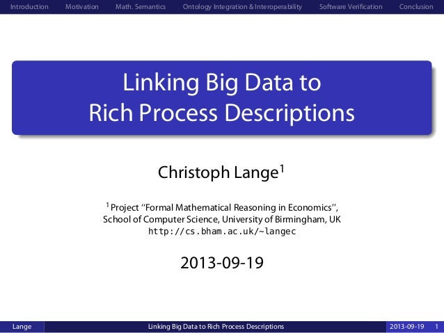 Linking Big Data to Rich Process Descriptions