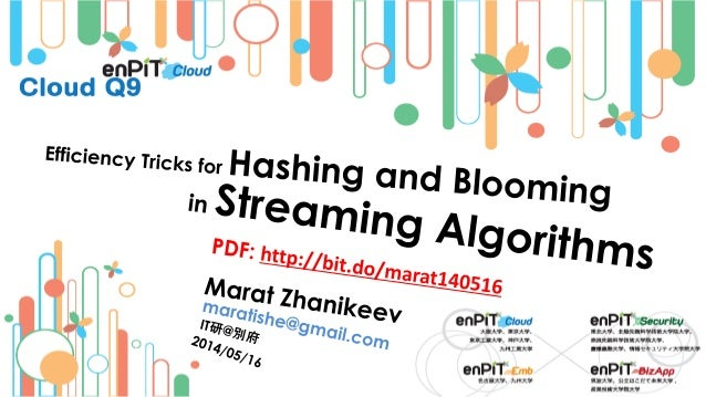 . The Data Streaming Problem M.Zhanikeev -- maratishe@gmail.com -- Efficiency Tricks for Hashing and Blooming in Streaming...