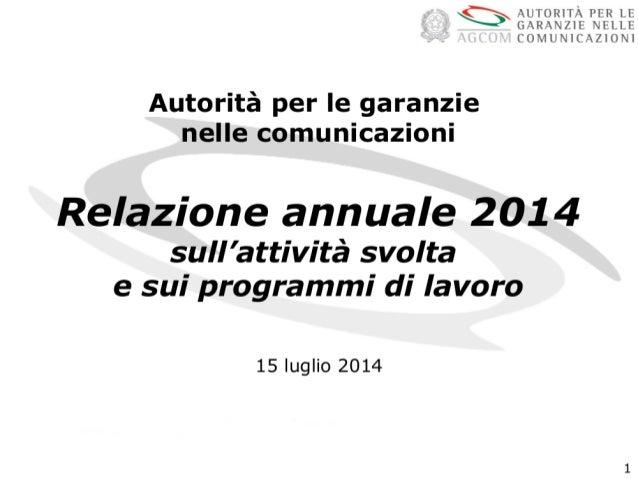 2 Il settore delle comunicazioni in Italia I servizi tlc I servizi media I servizi postali Le attività e i programmi di la...