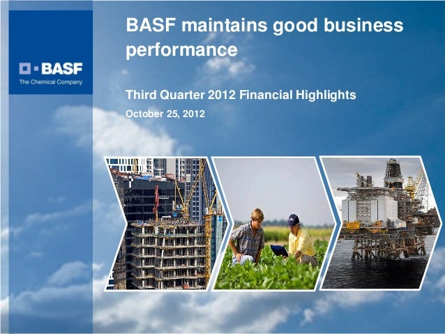 BASF maintains good business                                                performance                                   ...