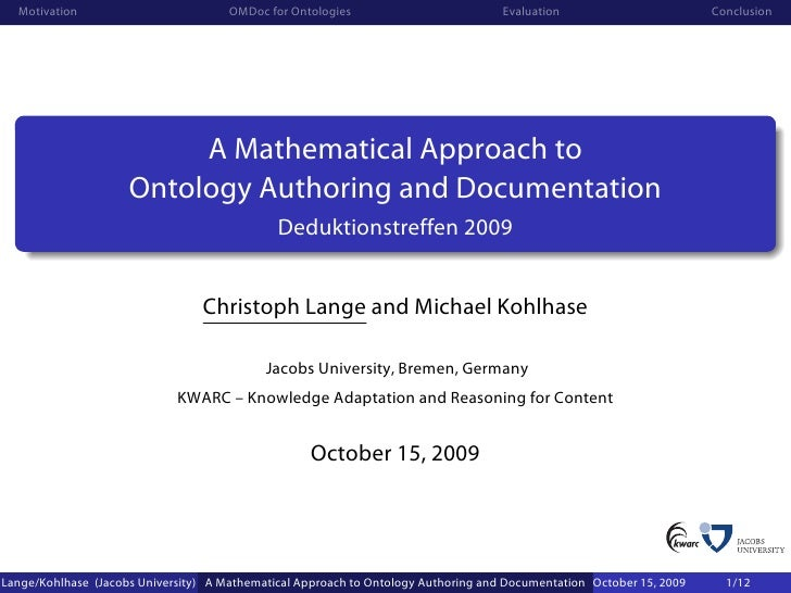 A Mathematical Approach to Ontology Authoring and Documentation