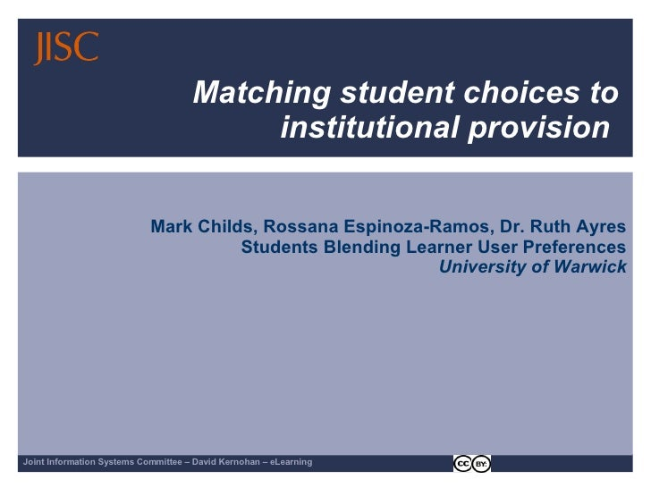 Matching student choices to institutional provision  Mark Childs, Rossana Espinoza-Ramos, Dr. Ruth Ayres Students Blending...