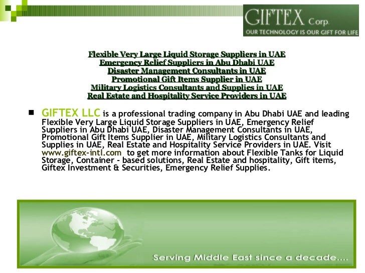 GIFTEX LLC  - One of the most reliable and professional trading company providing Liquids Storage Solutions in Abu Dhabi