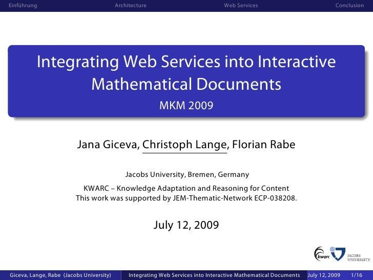 Einführung                                Architecture                            Web Services                            ...