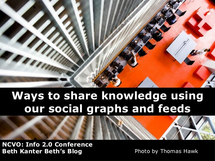 Ways to share knowledge using our social graphs and feeds NCVO: Info 2.0 Conference Beth Kanter Beth's Blog  Photo by Thom...