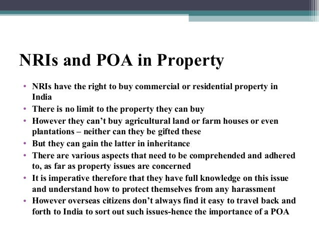 NRI can purchase the property through Power of Attorney (POA)?