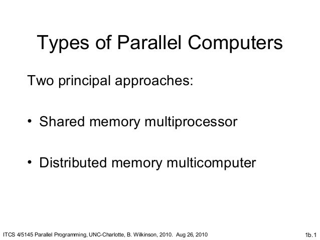 1b.1Types of Parallel ComputersTwo principal approaches:• Shared memory multiprocessor• Distributed memory multicomputerIT...