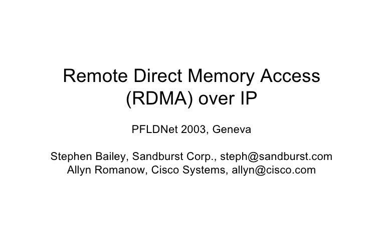 Remote Direct Memory Access (RDMA) over IP PFLDNet 2003, Geneva Stephen Bailey, Sandburst Corp., steph@sandburst.com Allyn...