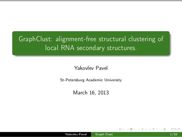 GraphClust: alignment-free structural clustering of local RNA secondary structures. Yakovlev Pavel St-Petersburg Academic ...