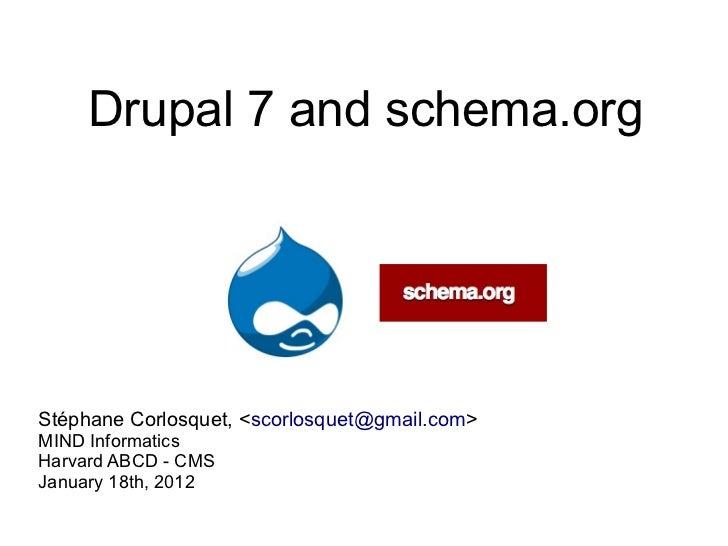 Drupal 7 and schema.orgStéphane Corlosquet, <scorlosquet@gmail.com>MIND InformaticsHarvard ABCD - CMSJanuary 18th, 2012