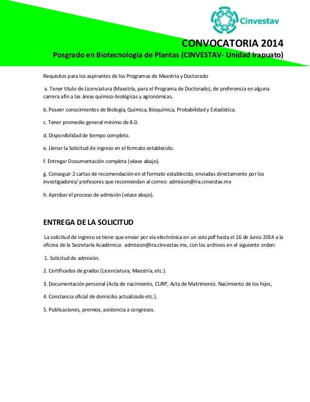 Convocatoria CINVESTAV Irapuato 2014.