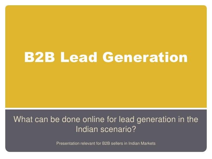 Generating B2B leads Online