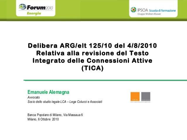 Delibera ARG/elt 125/10 del 4/8/2010