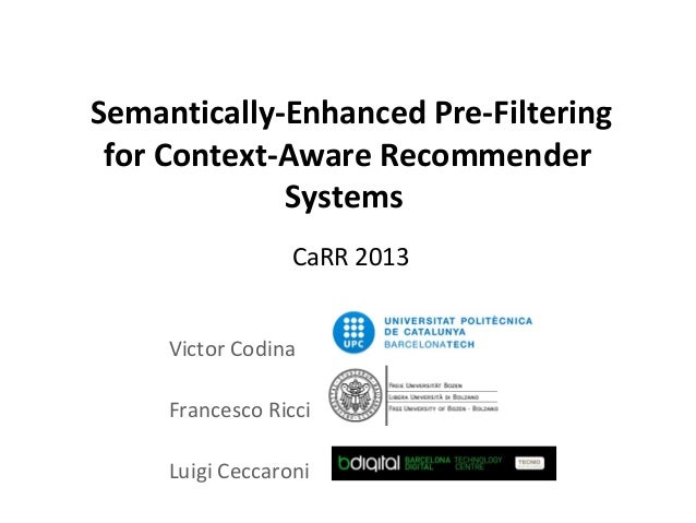Semantically-Enhanced Pre-Filtering for Context-Aware Recommender             Systems                  CaRR 2013     Victo...
