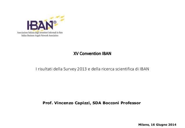 XV Convention IBAN I risultati della Survey 2013 e della ricerca scientifica di IBAN Milano, 16 Giugno 2014 Prof. Vincenzo...