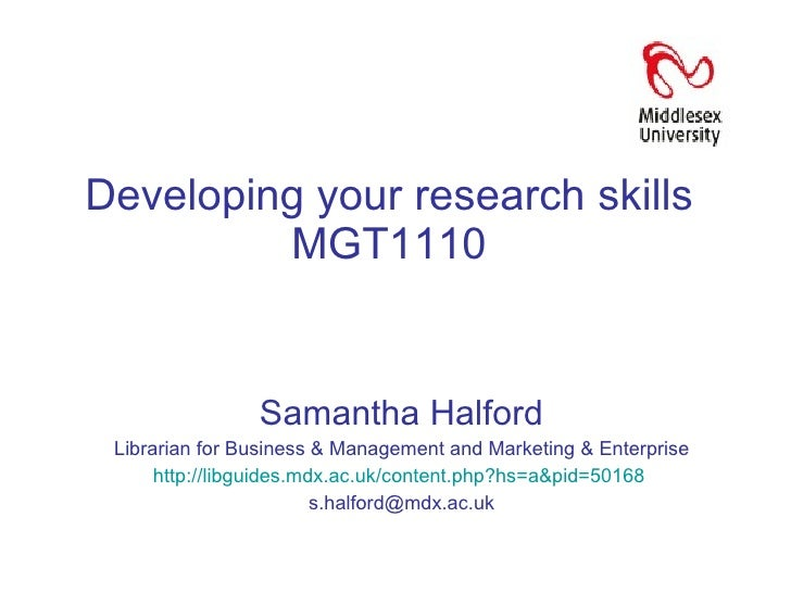 Developing your research skills