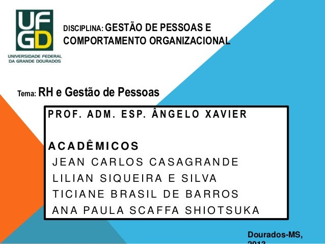 DISCIPLINA: GESTÃO  DE PESSOAS E COMPORTAMENTO ORGANIZACIONAL  Tema: RH  e Gestão de Pessoas  P R O F. A D M . E S P. Â N ...