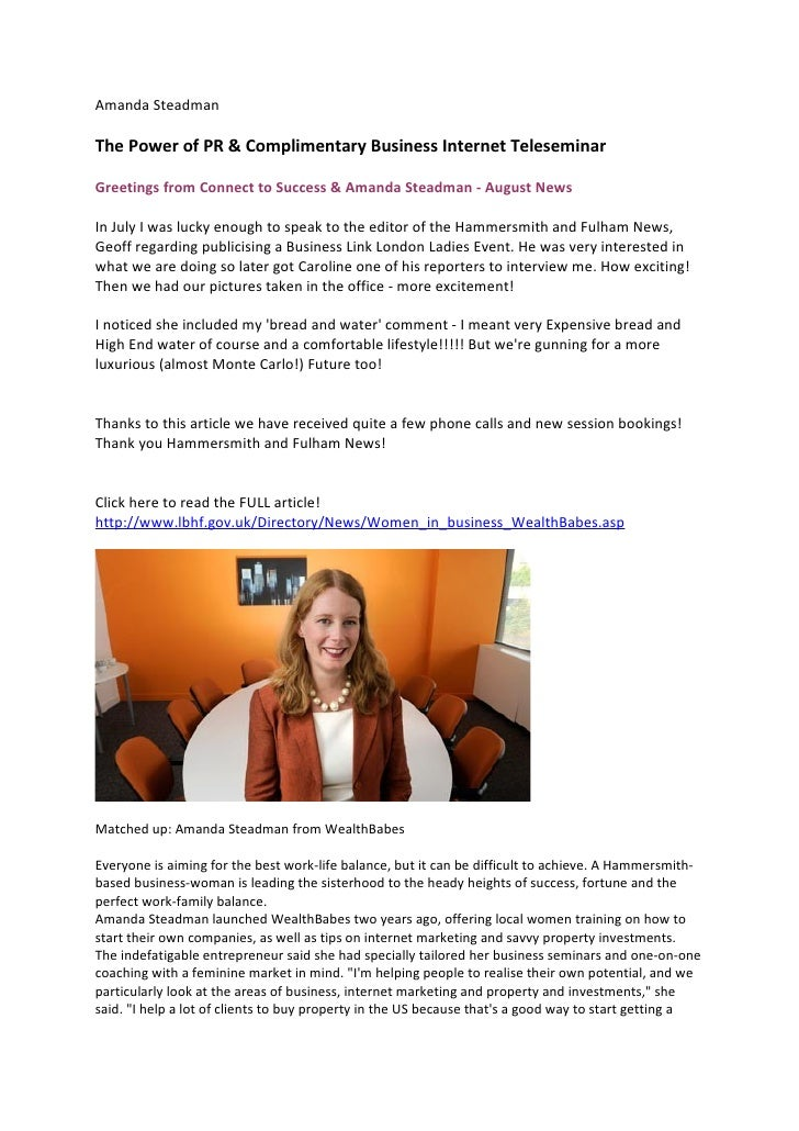 Amanda Steadman  The Power of PR & Complimentary Business Internet Teleseminar  Greetings from Connect to Success & Amanda...