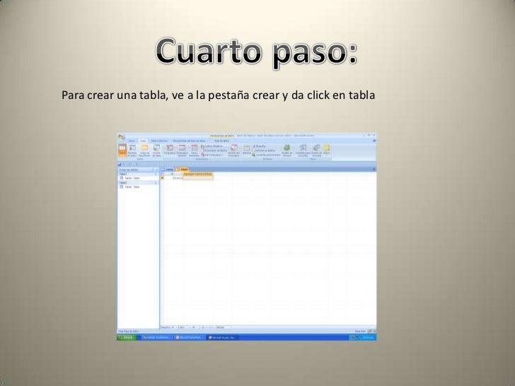 Como crear una base de datos en access for Cuarto y quinto paso