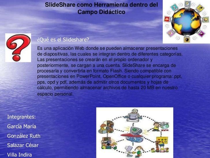 SlideShare como Herramienta dentro del                             Campo Didáctico               ¿Qué es el Slideshare?   ...