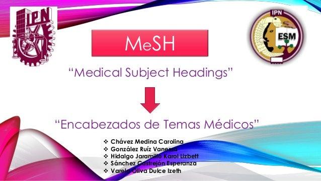 "MeSH ""Medical Subject Headings"" ""Encabezados de Temas Médicos""  Chávez Medina Carolina  González Ruíz Vanessa  Hidalgo ..."
