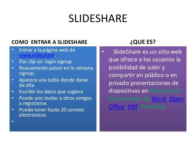 SLIDESHARE COMO ENTRAR A SLIDESHARE • Entrar a la página web de www.slideshare. • Dar clip en login signup. • Nuevamente p...