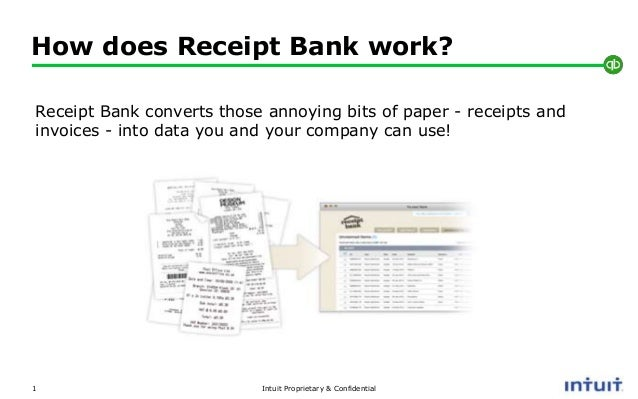 Intuit Proprietary & Confidential How does Receipt Bank work? 1 Receipt Bank converts those annoying bits of paper - recei...